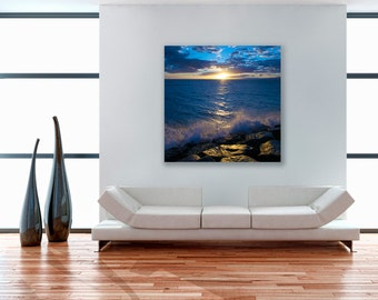 aluminum metal print, square, float frame, modern, wall art, ocean art, beach picture, sunset, home decor, blue, beach decor, romantic, maui