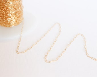 10 Feet - 14k Gold Filled Chain - 2mm x 5mm Link Elongated Chain - Thin Chain - Fancy Chain Wholesale Chain - Rectangle Oval / GF-CH006