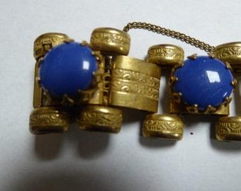 MIRIAM HASKELL - bracelet, goldtone, blue glass stones, signed, original 40's
