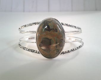 Tibetan Sterling Silver and Agate Cuff Bracelet