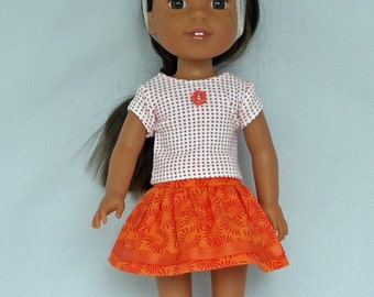 Orange Dots and Sunburst Skirt Outfit Handmade To Fit 14.5 Inch Dolls Like Wellie Wishers