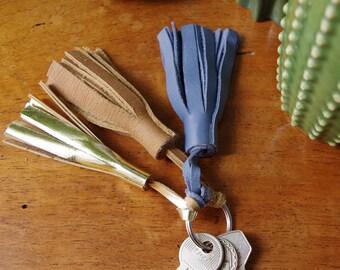 Paula ocean leather tassel keychain and camel