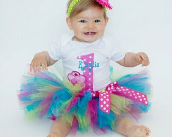 First Birthday Tutu Outfit - 1st Birthday Girl Outfit - 1st Birthday Cupcake Tutu - Cake Smash Outfit