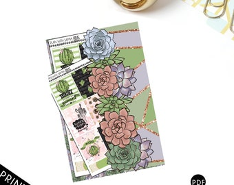 A6 Succulent Bookmark with Side Pocket