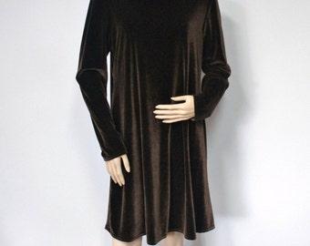 Vintage Dress Santa Fe Brown Velour Velveteen Dress 1980's Long Sleeve Dress Size 12