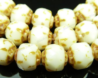 6mm Opaque White and Bronze Picasso Renaissance Czech Glass Beads - 25pc Strand - Faceted, Fire Polished - BD42