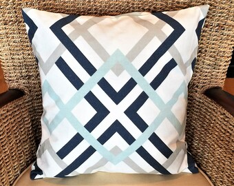 Blue and white pillow cover, blue pillow cover, throw pillow cover, Decorative Pillow Cover, 16x16 pillow cover , accent pillow, home decor