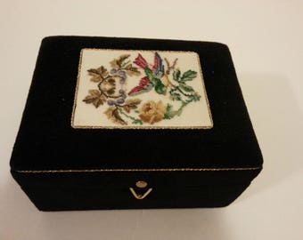 Black Fabric Covered Jewelry Box with Decorative Top with Bird in Tree Leaves
