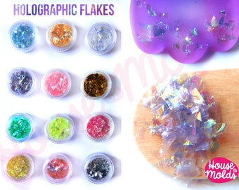 Holographic Flakes set of 12 ,sparkly and with amazing  special effects  flakes  for resin or nail art-Add some magic to your creations!