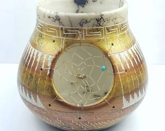 Native American Navajo handmade Horsehair pottery