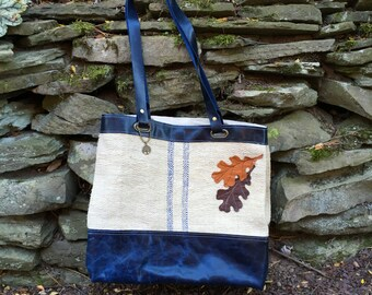 Organic Tote Bag, Leather Tote Bag, Grain Sack Tote, Market Bag, Tote Bag, Over the Shoulder  Bag, Carry All Book Bag