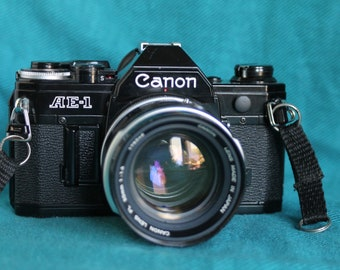 Canon AE-1 Black Paint 35mm Camera with 35-105mm lens