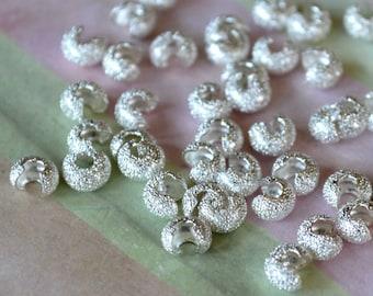 500pcs Crimp Cover Silver Brass Round 4mm Stardust Knot Covers Crimps
