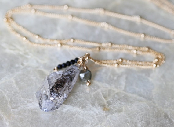 Herkimer Diamond Necklace, Crystal Necklace, Black and White Necklace, Long Necklace, Diamond Necklace, Layering Necklace