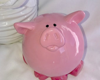PINK PIGGY BANK -Ceramic Piggybank Personalized Baby Gift Pig Bank Ceramic Bank Custom Hand Painted New Baby Present