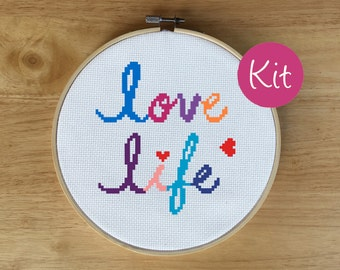 Cross Stitch Kit Beginner, Embroidery Kit Beginner, Cross Stitch Quote, Inspirational Quote, Positive Quote, Love Life, Hearts