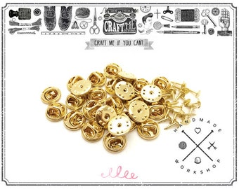 100PCS Gold TIE TACKS Blank Pins with Clutch Back Lapel FINDING / Scatter Pin