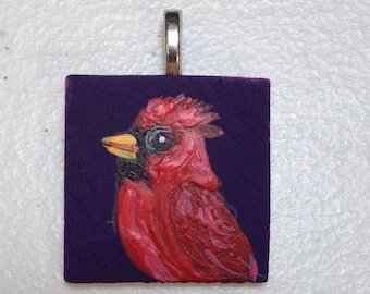 """Hand Painted Cardinal on 1"""" wooden Tile"""