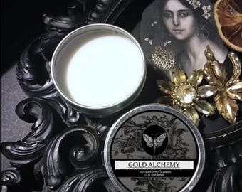 Gold Alchemy Natural Solid Perfume 1/2 oz Beeswax,Agarwood,Immortelle,Tobacco,Carrot,Jasmine,Citrus,Cedarwood,BlackPepper ,Lavender,Ambrette