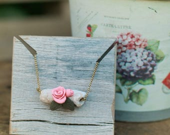 Polymer Clay, Necklace, Pink, Choker, Claysong