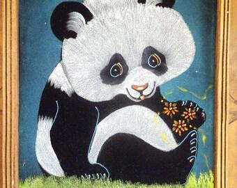 Vintage Hand painted PANDA on velvet ~ Signed Framed ~  Adorable Kitsch