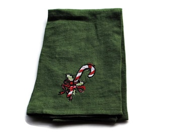 Embroidered Linen Dish Towel Candy Cane Green Kitchen Towel Guest Towel Tea Towel Hand Towel