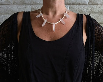 triUne necklace : bone & rock crystal points