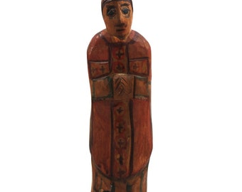 Priest / old folk sculpture/ folk art from Poland/ classic polish folk art