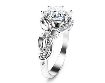 Unique 2 Carat Moissanite Ring Floral Design Moissanite Engagement Ring in 14k White Gold Vintage Style Ring
