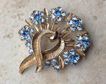 Vintage Coro Blue Rhinestone Flower Bouquet Brooch Easter Jewelry