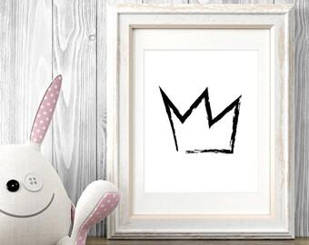 Crown Art, Nursery Decor, Crown Print, Printable Kids Gift, Black and White Print, Minimalist Poster, Printable Wall Art, Sketch, Drawing