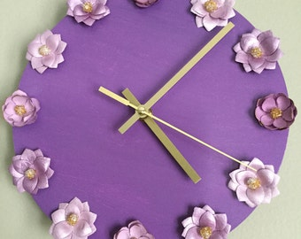 Hand Painted Clock with Flower Appliqué
