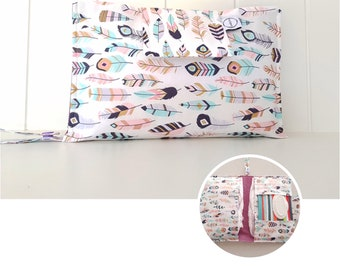 Pastel Metallic Feathers Nappy Wallet with wipes pocket