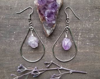 Silver Wire Wrapped Teardrop Shaped Skeletal Amethyst Dangle Earrings