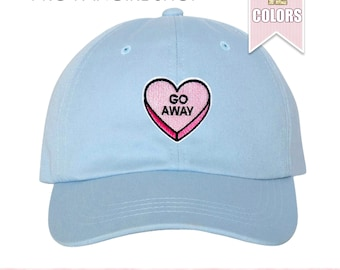 Go Away Dad Hat, Tumblr Aesthetic Clothing Baseball Hat, Heart Embroidered Patch Pink Dad Hats Dad Cap Baseball Cap Teen Girl Gift Ideas