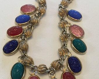 Vintage Egyptian Scarab Charm Bracelet