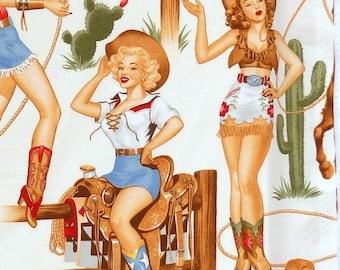 Alexander Henry Back In The Saddle - western rodeo pin up cowgirl fabric - Natural - Per 1/2 metre - 100% Cotton
