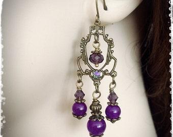 """Dark Purple Neo Victorian Steampunk Chandelier Earrings-Natural Amethyst&Swarovski Crystal Vintage Inspired Dangle Earrings-""""HYACINTHUS"""""""