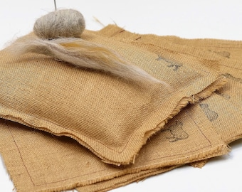 Needle felting mat Hessian/Burlap felting mat, Organic, eco friendly, reusable time after time and fully biodegradable