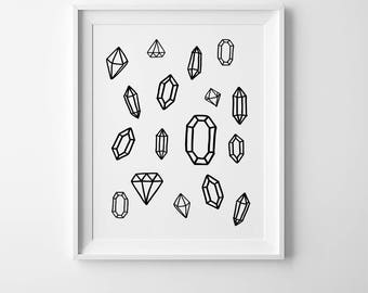 Diamond wall art print, nursery print, kids decor, diamond kids print, home wall art, children print, diamond playroom art, kids room decor