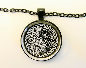 YIN YANG Necklace -- Celtic design Yin and Yang symbol in black and white, Gift for him and her, Taoist art necklace
