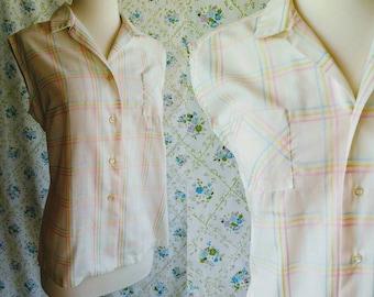 1950s white pastel plaid sleeveless blouse