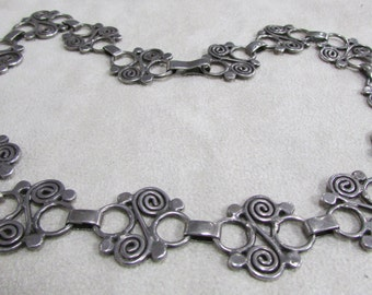 "Sterling Silver Link Necklace with Spiral Design  17"""