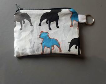Handmade lined coin purse staffy designer dog fabric Staffordshire bull terrier