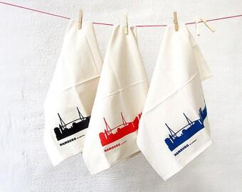 HAMBURG Flour Sack White Tea Towel Set of 3 Kitchen Towel Organic Cotton screen print green gift  Kitchen Decor - handprint by 44spaces
