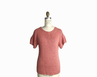 Vintage 80s Spring Sweater in Dusty Rose Pink / Short Sleeve Sweater - women's medium