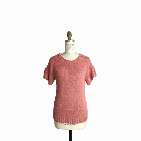 Vintage 80s Spring Sweater in Dusty Rose Pink / Short Sleeve Sweater - women's medium