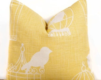 SALE ENDS SOON Bird Cage Pillow case, Yellow Cotton Pillow Cover, Modern Decorating Ideas, 16 x 16