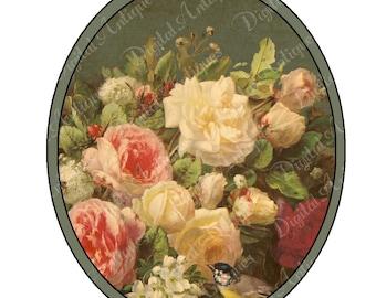 Vintage Oval Flower Tags  Printable Digital Download