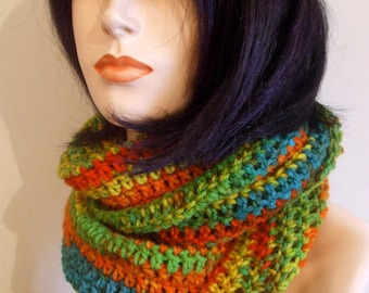 Hand Crochet Infinity Scarf in SUNBURST